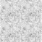 Seamless vector abstract hand-drawn floral texture Stock Photos