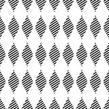Seamless vector abstract pattern. Black and white symmetrical geometric repeating background with decorative rhombus. Stock Photography