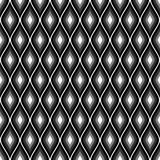 Seamless vector abstract pattern. Black and white symmetrical geometric repeating background with decorative rhombus. Royalty Free Stock Photo