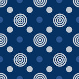 Seamless vector abstract pattern with blue circles of different sizes. Background for dress, manufacturing, wallpapers, Stock Photos