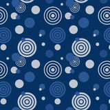 Seamless vector abstract pattern with blue circles of different sizes. Background for dress, manufacturing, wallpapers Royalty Free Stock Photos
