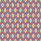 Seamless vector abstract pattern. Colorful symmetrical geometric repeating background with decorative rhombus Stock Images
