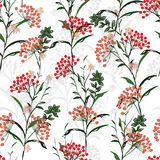 Seamless vector autumn pattern with red and orange berries and l. Eaves. Fall colorful floral background.pattern for fashion,fabric and all prints on white vector illustration