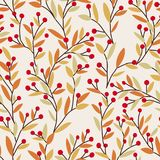 Seamless vector autumn pattern with red and orange berries and leaves. Fall colorful floral background. Elegant floral Stock Images