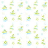 Seamless vector baby background with boats and sea Stock Photo