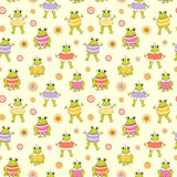 Seamless vector baby background with frogs Stock Photo