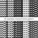 Set of ten seamless zig zag pattern. 10 Seamless vector backgounds, simple zigzag patterns, black gray and white texture stock illustration