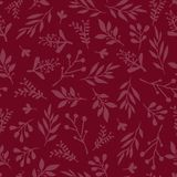Seamless vector background with abstract leaves red. Simple leaf texture in red, endless foliage pattern. Subtle Christmas. Background. Paper, pattern fill, web royalty free illustration