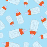 Seamless vector background of baby bottles for boy Royalty Free Stock Photography