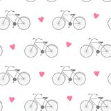Seamless vector background with bicycle, illustration for fabric, scrapbooking paper and other.  Stock Photography