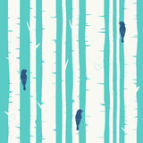 Seamless vector background with birch forest Stock Photo