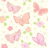 Seamless vector background with butterfly Stock Image