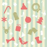 Seamless Vector Background with Christmas Elements. In Flat Design Style Royalty Free Stock Photography