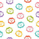 Seamless vector background with colorful lions Stock Image