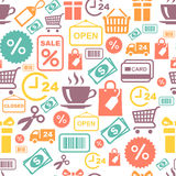 Seamless vector background with colorful shopping Royalty Free Stock Images