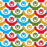 Seamless vector background with colorful smiley faces. People wi Stock Photography