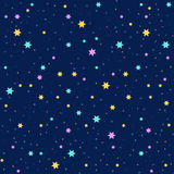 Seamless vector background with colorful stars. On blue background. Repeating geometric background. Night sky pattern Stock Photo