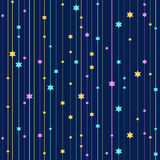 Seamless vector background with colorful stars. On striped background. Repeating geometric background. Graphic stripes with vertical direction Royalty Free Stock Photo
