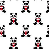 Seamless vector background with cute pandas and hearts. seamless panda bears. royalty free illustration
