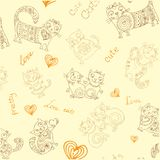 Seamless vector background with different cute animals,objects Stock Image