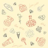 Seamless vector background with different cute objects Royalty Free Stock Photography