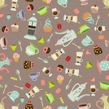 Seamless vector background with dishes and cakes Royalty Free Stock Photos