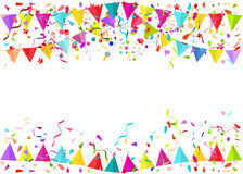 Seamless vector background of falling confetti pieces and colore. D pennants isolated in white vector illustration