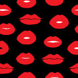 Seamless vector background with female lips. Royalty Free Stock Photos