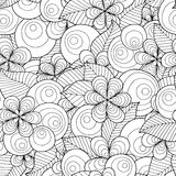 Seamless vector background with floral elements and circles. Royalty Free Stock Photography