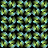 Seamless vector background with green and blue abstract patterns in metallic feather shape. Contrasting gradient ornament on black Stock Image