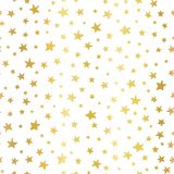 Seamless vector background Handdrawn stars gold foil. Pattern for Christmas and celebrations. Hand drawn golden stars on white. stock illustration