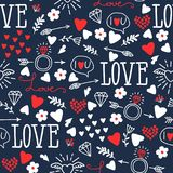 Seamless vector background with hearts, arrows, ringlets. Flowers, love.  illustration for fabric, scrapbooking paper and other Royalty Free Stock Photos