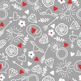 Seamless vector background with hearts, arrows, ringlets, flowers, love.  illustration for fabric, scrapbooking paper and other Stock Photos