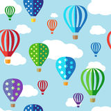 Seamless vector background with hot air balloons Stock Photo