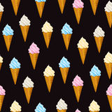 Seamless vector background Ice cream waffle cone. Seamless vector background with Ice cream waffle cone vector illustration