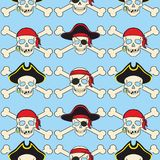 Seamless vector background illustration. model pirates skull accessories and attributes. stock illustration