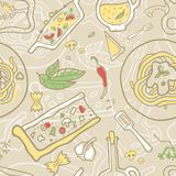 Seamless vector background with italian food. royalty free illustration