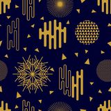Chaotic golden geometric festive pattern. Seamless vector background with Japanese, Chinese, Korean motifs. Modern composition with ornate circles and different Royalty Free Stock Image