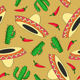 Seamless vector background with Mexican symbols Stock Photos