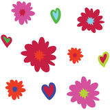 Seamless vector background pattern with asymmetric flowers and hearts stock illustration