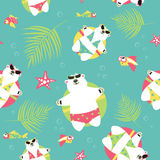 Seamless vector background with polar bears and Stock Images