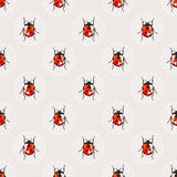 Seamless vector background with pretty watercolor ladybugs. Royalty Free Stock Photography