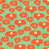 Seamless vector background red poppies flower meadow. Poppy meadow on green background. Retro floral background. Hand drawn royalty free illustration