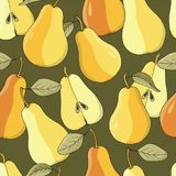 Seamless vector  background with ripe pears on dark green. Hand drawn vector illustration with fruits Stock Image