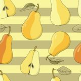 Seamless vector background with ripe pears on yellow stripes. Hand drawn vector illustration with fruits Royalty Free Stock Image