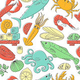 Seamless vector background with seafood. Stock Photos