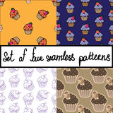 Seamless vector background set with cupcakes. Seamless background set with chocolate cupcakes. Orange, blue, white and brown sweet pattern collection. Vect Royalty Free Stock Photo