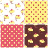 Seamless vector background set with polka dots and. Cupcakes. Yellow, pink and brown sweet pattern collection for cute dekstop wallpaper or website design Royalty Free Stock Images