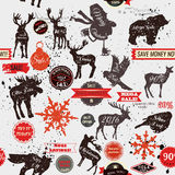 Seamless vector background with stickers labels and animal shape Royalty Free Stock Images