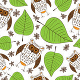 Seamless vector background with stylized owls and  Stock Images